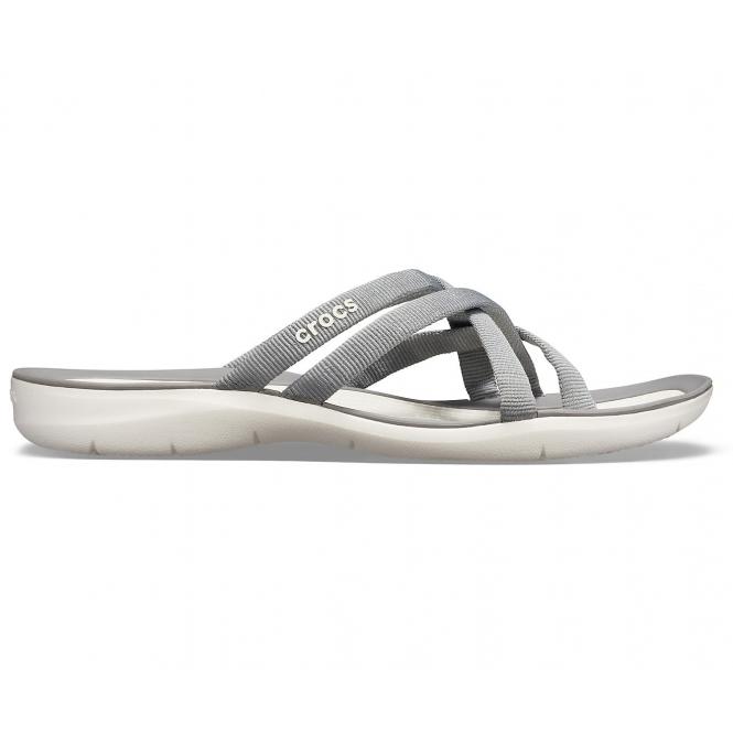 cb00d86de781 Crocs 205479 SWIFTWATER WEBBING FLIP Ladies Sandals Smoke Oyster ...