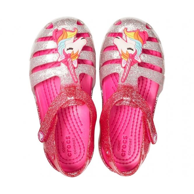 Crocs 205535 ISABELLA CHARM SANDAL Girls Touch Fasten Comfort Sandals Pink Ombre