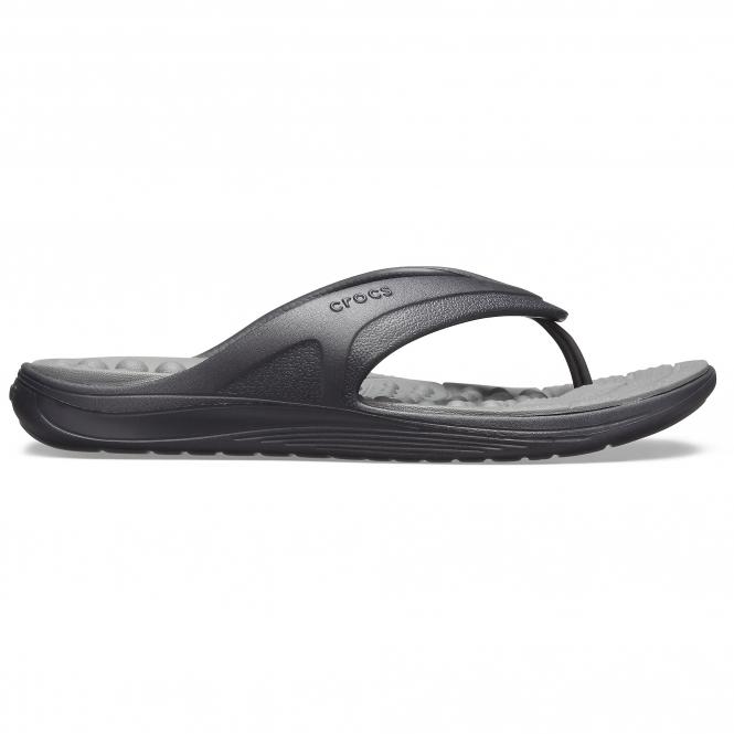 1aacf3b64101 Crocs 205545 REVIVA FLIP Mens Flip Flops Black Slate Grey