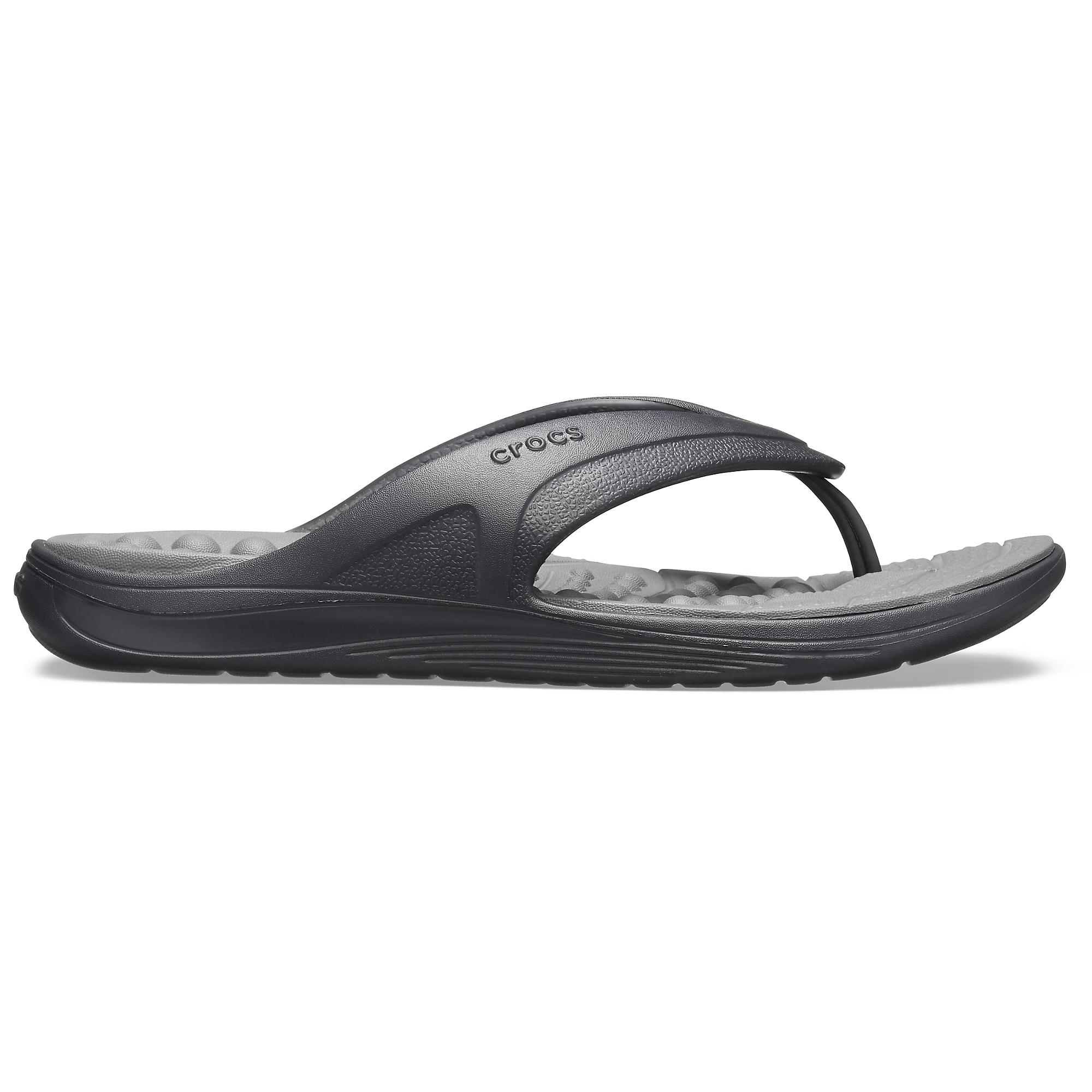 84d589f0294e0 Crocs 205545 REVIVA FLIP Mens Flip Flops Black/Slate Grey