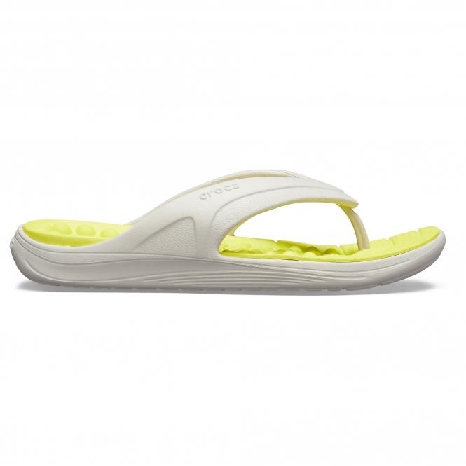 b2e31b5a8f54 Crocs 205545 REVIVA FLIP Mens Flip Flops Pearl White Citrus