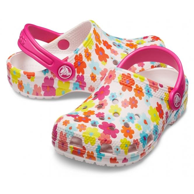 Crocs 205620 CLASSIC SEASONAL GRAPHIC CLOG Girls Clogs Pink | Shuperb