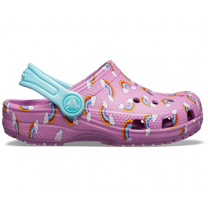 01b46e28006750 Crocs 205620 CLASSIC SEASONAL GRAPIC CLOG Girls Clogs Violet | Shuperb
