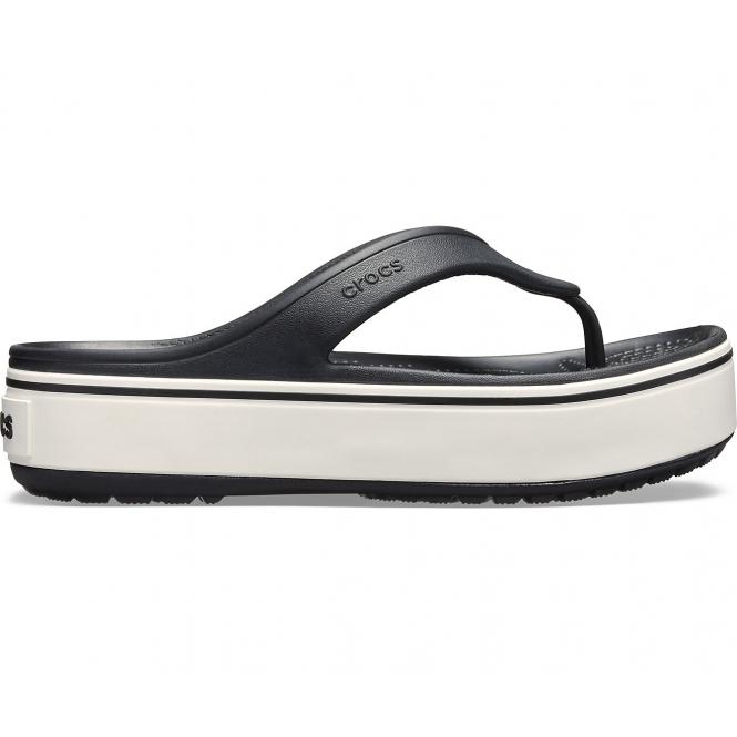 0c256d8b7b5 Crocs 205681 CROCBAND PLATFROM FLIP Ladies Flip Flops Black White ...