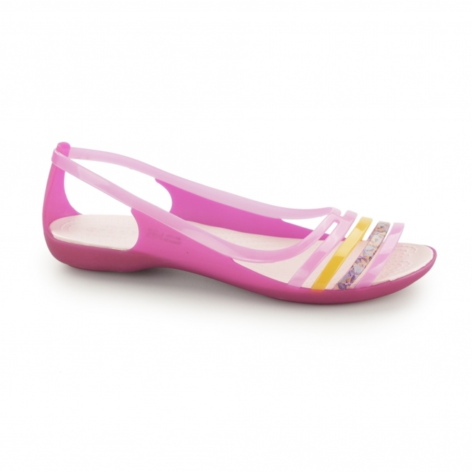Crocs ISABELLA FLAT Ladies Sandals Pink/Coral