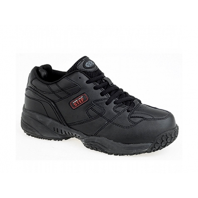 Mind Your Step CRUISER Mens Leather Lace-Up Comfort Trainers Black