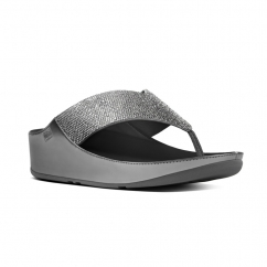 CRYSTALL™ Ladies Shimmer Toe Post Sandals Pewter