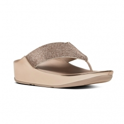 CRYSTALL™ Ladies Shimmer Toe Post Sandals Rose Gold
