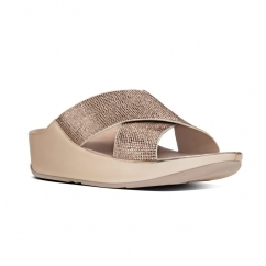 CRYSTALL SLIDE™ Ladies Shimmer Crossover Sandals Rose Gold