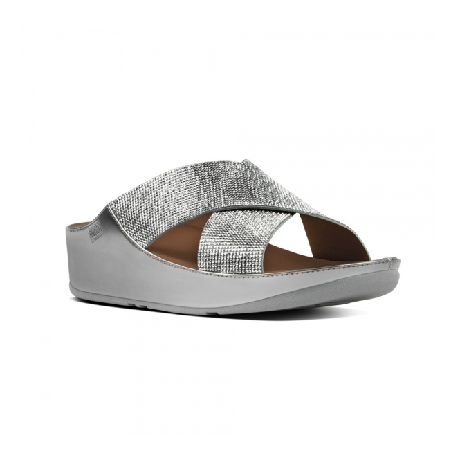 FitFlop™ CRYSTALL™ SLIDE Ladies Shimmer Crossover Sandals Silver