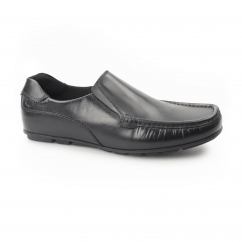 CUBA Mens Leather Moccasin Loafers Black