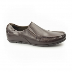 Base London CUBA Mens Leather Moccasin Loafers Brown