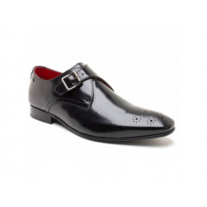 Base London CUFFS Mens Waxy Leather Buckle Shoes Black