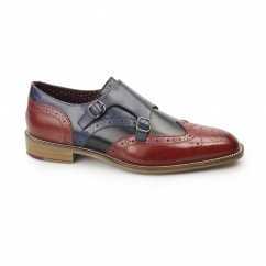 CURTIS Mens Leather Wingtip Brogue Monk Shoes Red/Black/Navy
