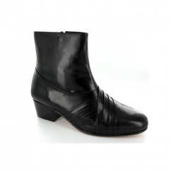 CURZON Mens Cuban Heel Pleated Leather Boots Black