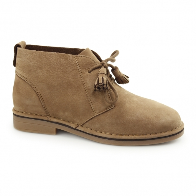 Hush Puppies CYRA CATELYN Ladies Nubuck Desert Boots Cognac