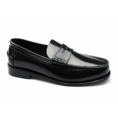 CYRUS Mens Polished Leather Moccasin Penny Loafers Black
