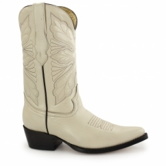 DALLAS Ladies Leather Cuban Heel Cowboy Boots Beige