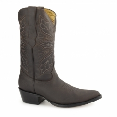DALLAS Ladies Leather Cuban Heel Cowboy Boots Brown