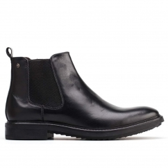 Base London DALTON Mens Leather Slip On Chelsea Boots Black
