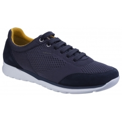 GEOX DAMIAN B Mens Leather Lace Up Comfort Trainers Navy