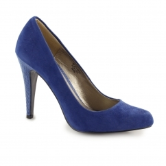 DANDELION Ladies Faux Suede Reptile Stiletto Heels Blue