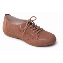 DARCY Ladies Leather Extra Wide Lace Up Shoes Beige