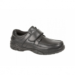 DARIAN Boys Leather Velcro School Shoes Black