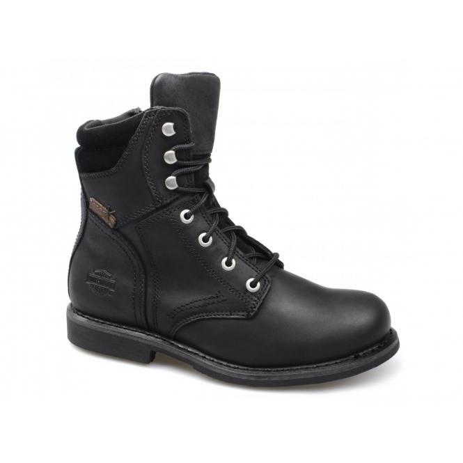 Harley Davidson DARNEL Mens Leather Lace Up Zip Combat Boots Black