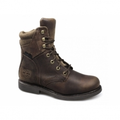 DARNEL Mens Leather Lace Up Zip Combat Boots Brown