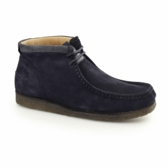 DAVENPORT HIGH Mens Suede Boots Navy