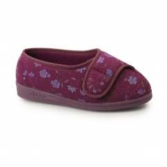 DAVINA Ladies Super Wide Fit Velcro Floral Slippers Wine