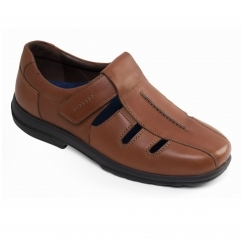 DAWLISH Mens Leather Dual Fit Touch Close Summer Shoes Tan
