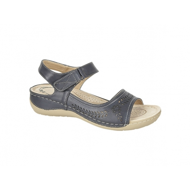 Boulevard DAWN Ladies Velcro Halter Back Sandals Navy