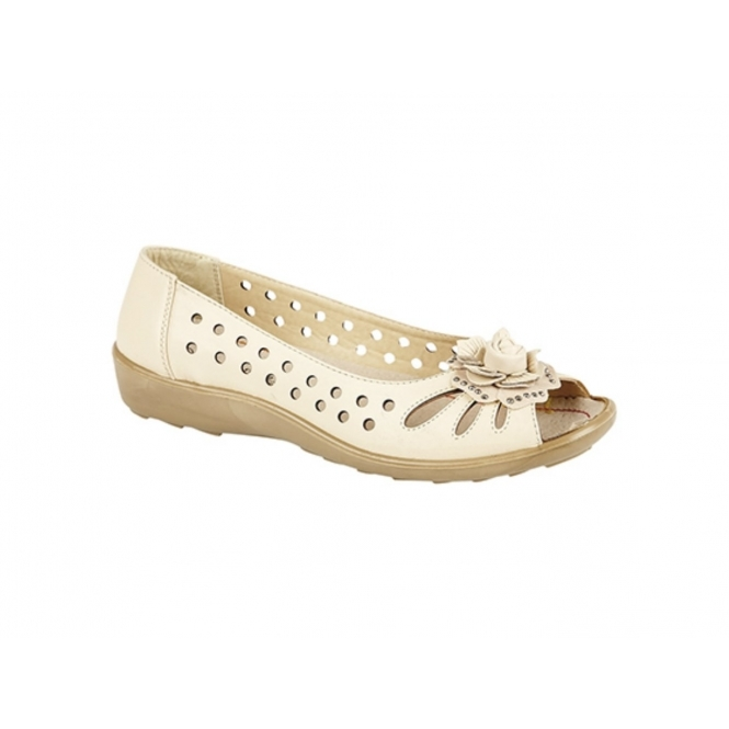 Boulevard DAYNA Ladies Faux Leather Flower Peep Toe Flats Beige