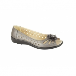DAYNA Ladies Faux Leather Flower Peep Toe Flats Pewter