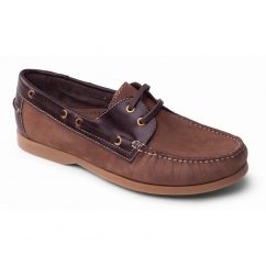 DECK Mens Leather Casual Wide Fit Boat Shoes Brown
