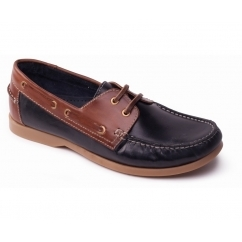 DECK Mens Leather Casual Wide Fit Boat Shoes Navy