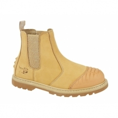 DEFENDER Mens Steel Toe Safety Chelsea Boots Honey