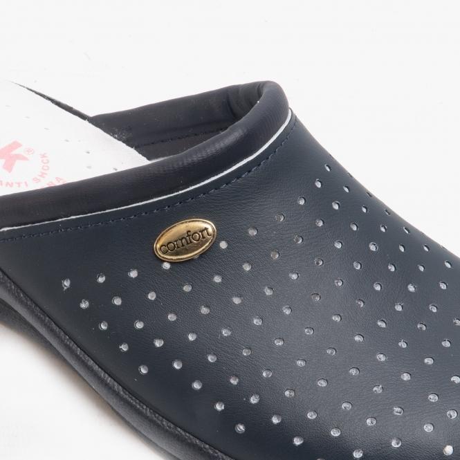 Ladies Leather Nursing Clogs Shoes Navy