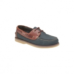 DAISY Ladies Lace Up Leather Boat Shoes Brown & Navy