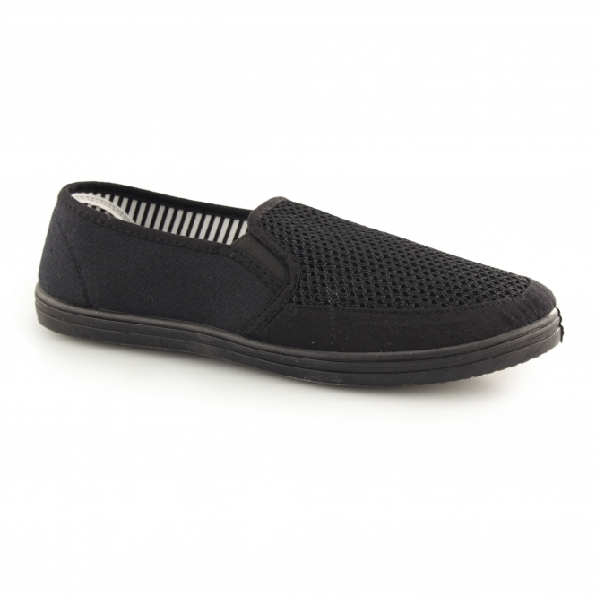 de6ffcd028 DEK HARVEY Mens Gusset Slip On Casual Yachting Shoe Black | Shuperb
