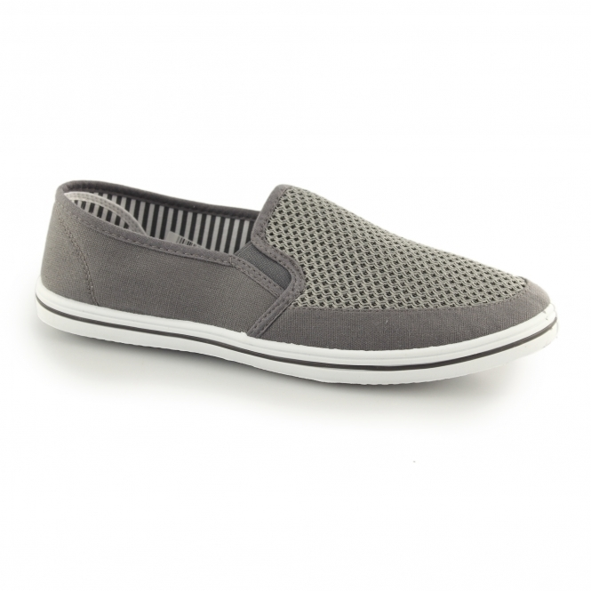 HARVEY Mens Gusset Slip On Casual Yachting Shoe Grey