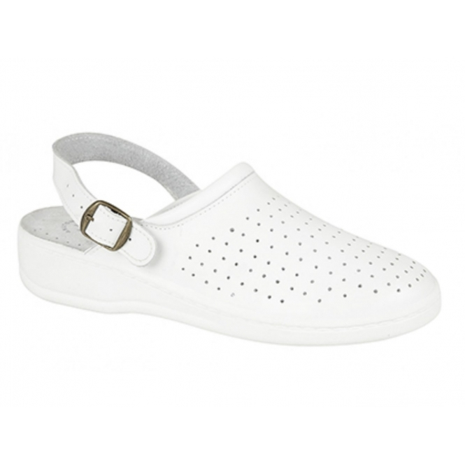 JESSE Mens Leather Mule Clogs Sandals White