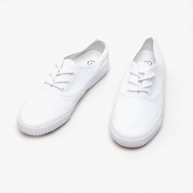 DEK Junior 4 Eyelet Classic School Plimsolls White White Canvas