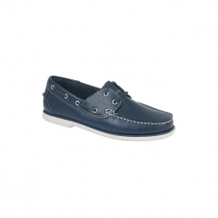 STEVEN Unisex Leather Boat Shoes Navy