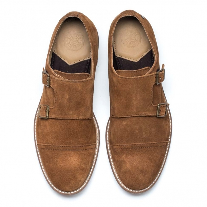 Base London Delamare Mens Suede Monk Strap Shoes Tan Shuperb