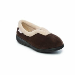 DELTA Ladies Warm Slip On Full Slippers Brown