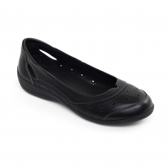 DEMI 2 Ladies Leather Floral Flat Shoes Black
