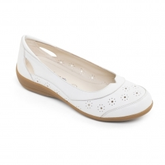 DEMI 2 Ladies Leather Floral Flat Shoes White